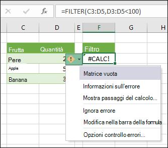 #CALC! Errore - matrice vuota