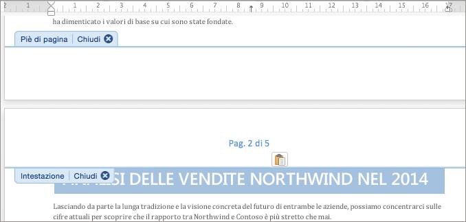 Incollare nell'intestazione la numerazione di pagina tagliata dal piè di pagina.