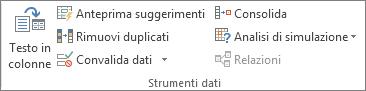 Gruppo Strumenti dati nella scheda Dati