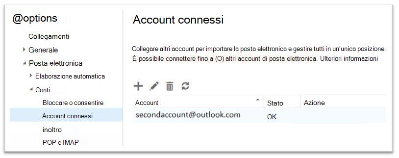 Opzione di account Office 365 - connesso