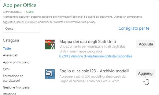 Screenshot che mostra la pagina dei componenti aggiuntivi per Office in cui è possibile selezionare o cercare un componente aggiuntivo per Excel.