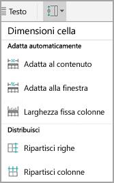 Dimensioni delle celle di tabella in Android