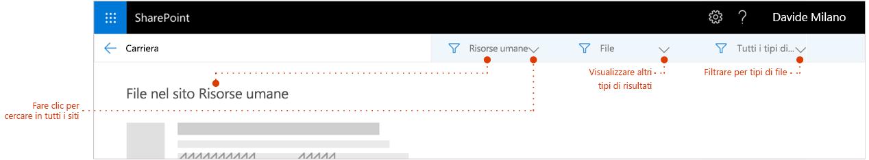 Schermata della ricerca pagina dei risultati, ingrandito nella parte superiore dei risultati in una presentazione di percorso di navigazione sito i risultati provengono da. Puntatori ai filtri.
