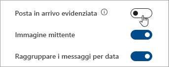 Screenshot del pulsante Posta in arrivo evidenziato in Impostazioni rapide