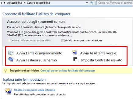 Finestra di dialogo Centro accessibilità Windows con gli strumenti di Assistive Technology