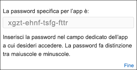 Copiare la password dell'app