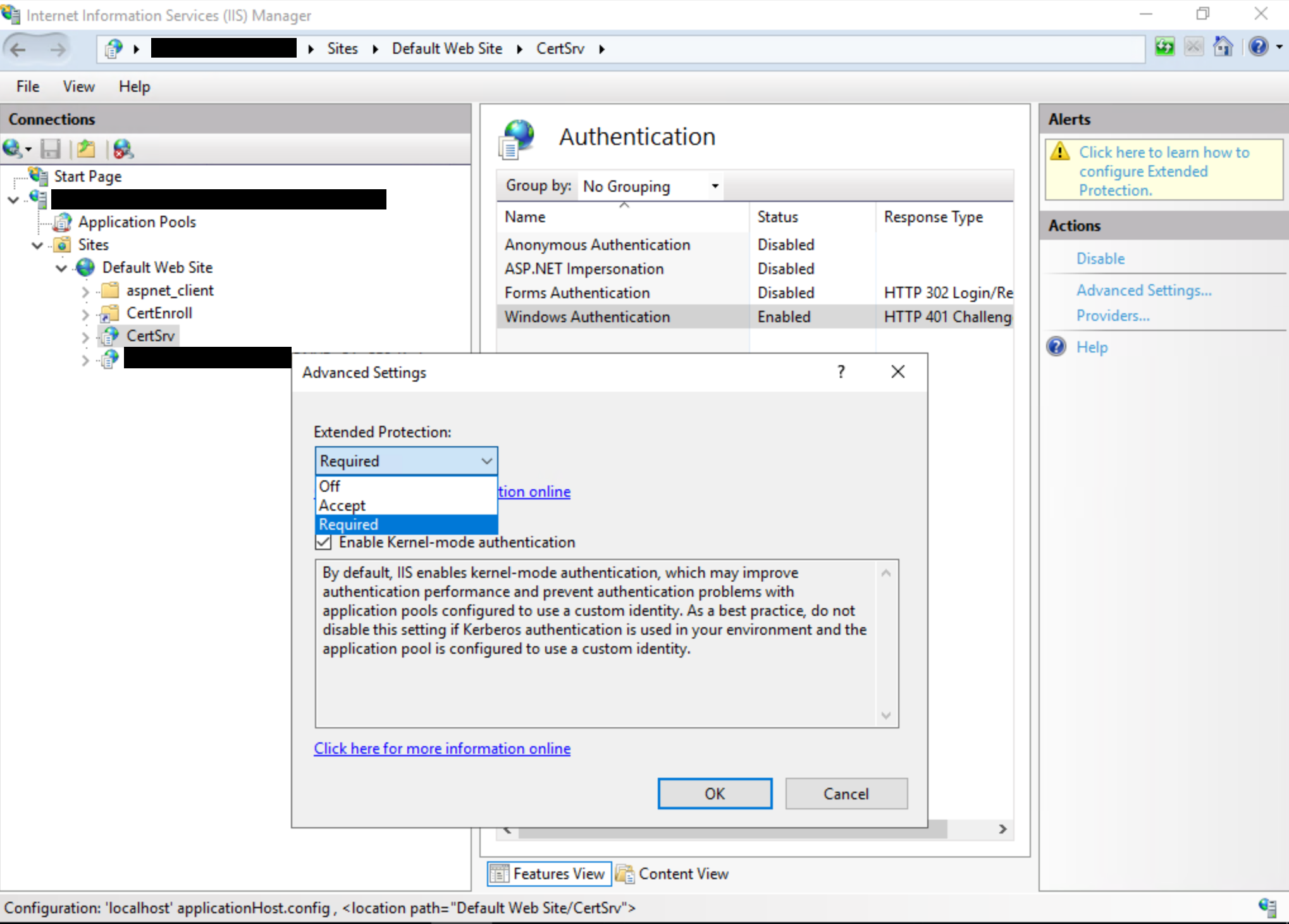 Finestra di dialogo Registrazione Web autorità di certificazione