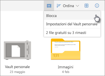 Screenshot relativa al blocco della cartella Vault personale in OneDrive