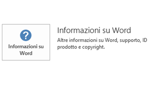 Quando Office è stato installato con la tecnologia Microsoft Installer, le informazioni sull'applicazione e gli aggiornamenti hanno questo aspetto.