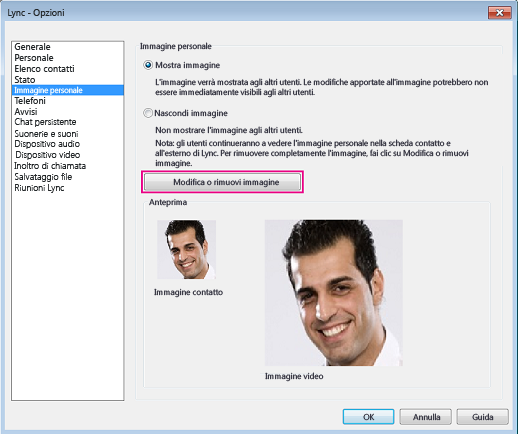 Schermata della finestra delle opzioni Immagine personale con il comando Modifica immagine o Cambia immagine evidenziato