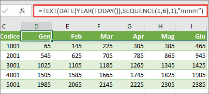 Foglio di lavoro Excel con funzione SEQUENZA