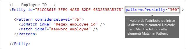 Markup XML che mostra l'attributo patternsProximity