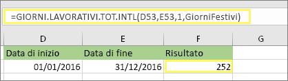 =GIORNI.LAVORATIVI.TOT.INTL(D53;E53;1;GiorniFestivi) e risultato: 252
