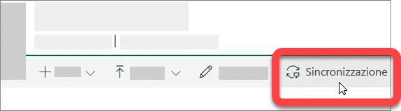 Schermata che mostra il pulsante Sincronizza in una raccolta di SharePoint.