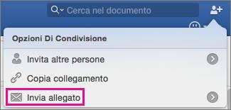 Per inviare il documento come allegato di un messaggio di posta elettronica, fare clic su Invia allegato.