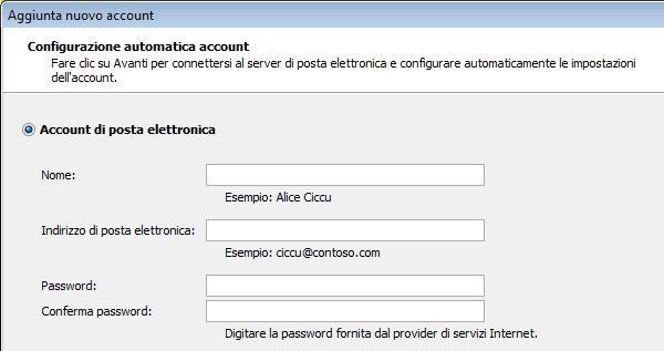 Aggiungere un nome e un indirizzo di posta elettronica in Outlook 2010