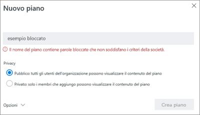Screenshot: Criteri di denominazione del gruppo - Esempio bloccato di creazione nuovo piano