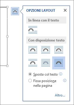 Opzioni layout casella di testo