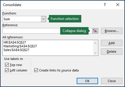 Finestra di dialogo Consolidamento dati