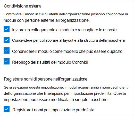 Impostazione di collaborazione Microsoft Forms