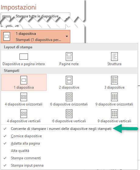 Stampare i numeri delle diapositive negli stampati.