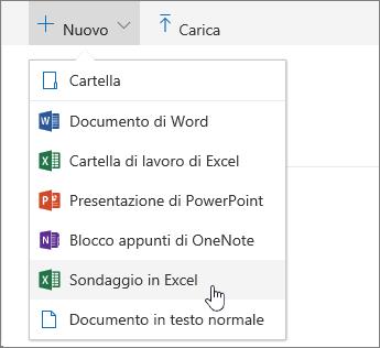 Menu Nuovo, comando Sondaggio in Excel