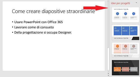 Esempio di diapositiva di base che PowerPoint Designer può trasformare in un elemento grafico