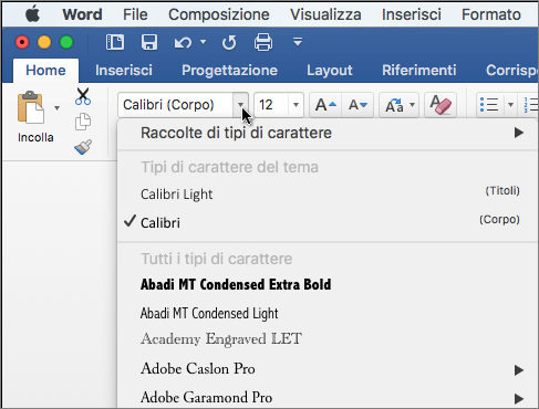 Fare clic sul menu a discesa relativo ai tipi di carattere in Word per modificare il tipo di carattere del testo.