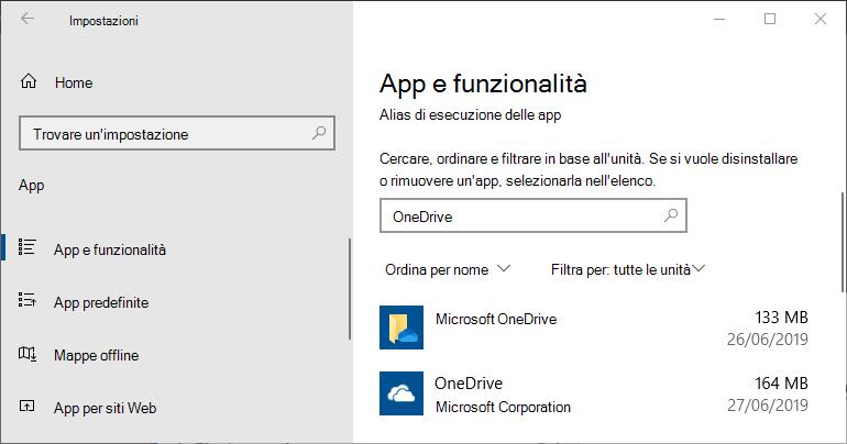 OneDrive nelle impostazioni dell'app Windows