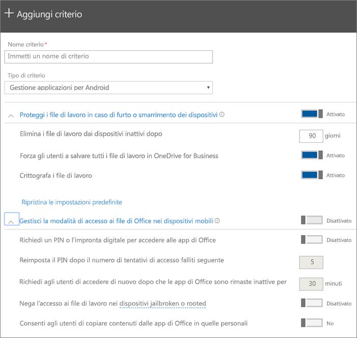 Screenshot dell'opzione Crea un criterio con Gestione applicazioni per Android selezionata