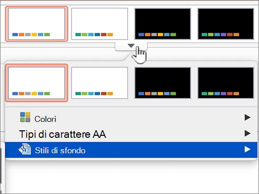 Accesso a opzioni di stile di sfondo