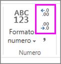 Aumentare o diminuire le posizioni decimali nella formattazione dei numeri
