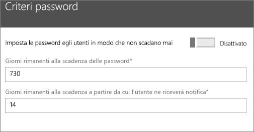 Immettere la frequenza con cui dovrebbero scadere le password