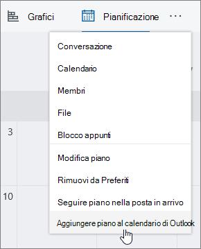 Screenshot del menu Planner con l'opzione Aggiungi piano al calendario di Outlook selezionato.