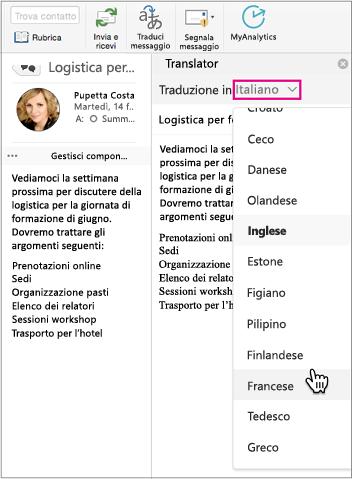 Usare l'elenco a discesa per selezionare la lingua in cui verrà tradotto il messaggio.