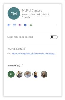 Immagine della nuova scheda visualizzata al passaggio del mouse su Gruppi di Office 365