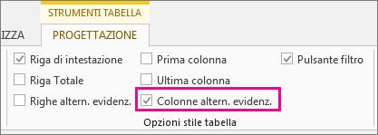 Casella Colonne alternate evidenziate della scheda Progettazione Strumenti tabella