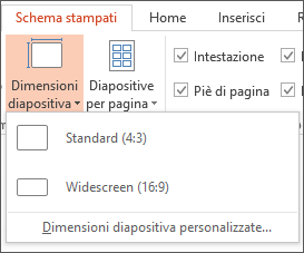 Menu Dimensioni diapositiva
