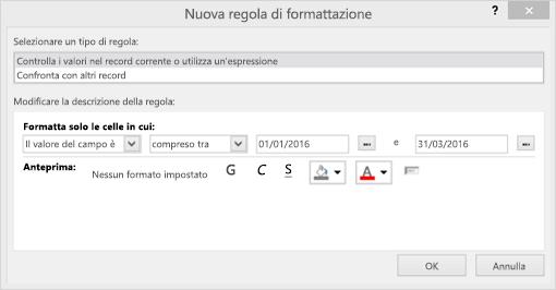 Schermata dell'interfaccia Nuova regola di formattazione