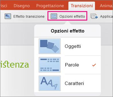 Opzioni effetto per la transizione Morphing in PowerPoint 2016 per iPad