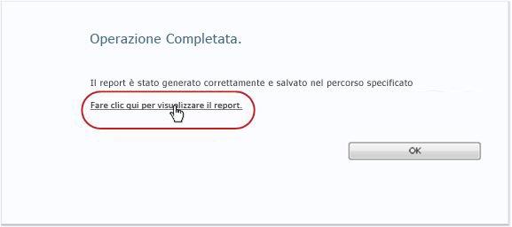 Clic sul collegamento per visualizzare il report