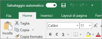 Barra del titolo in Excel con l'interruttore del salvataggio automatico