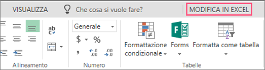 Pulsante Modifica in Excel