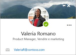 Screenshot della scheda contatto nella pagina Persone.
