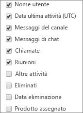 Report Attività degli utenti di Microsoft Teams - scegli colonne