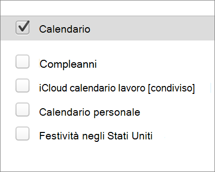 calendario di iCloud in Outlook 2016 per Mac