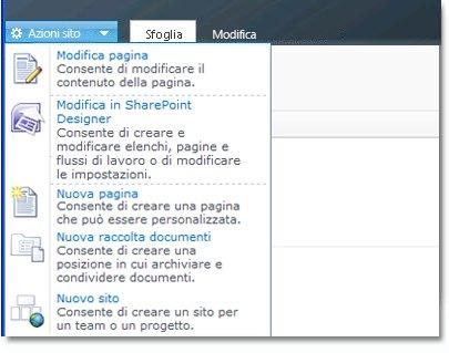 SharePoint Designer 2010 nel menu Azioni sito