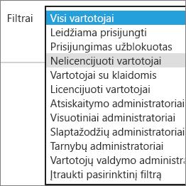 Selezionare gli utenti senza licenza nell'elenco Filtri.
