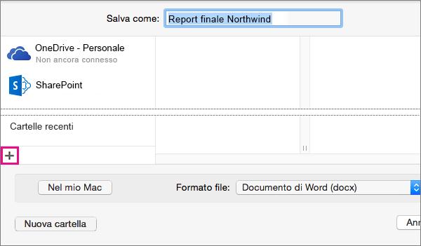 Per aggiungere un servizio online, fare clic sul segno più in fondo alla colonna sinistra nella finestra di dialogo Salva con nome.
