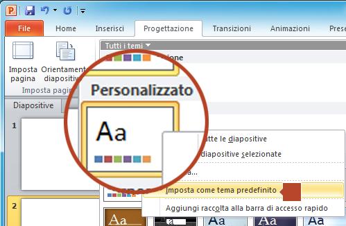 """Fare clic con il pulsante destro del mouse sul nuovo tema mostrato sotto l'intestazione """"Personalizzato"""" e quindi scegliere """"Imposta come tema predefinito""""."""